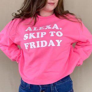 Alexa, Skip To Friday Cropped Pullover Sweatshirt